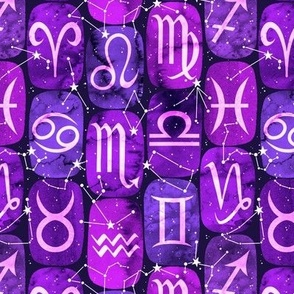 Zodiac Symbols in Purple