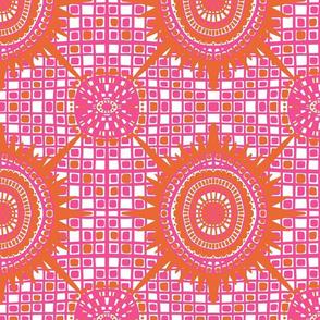boho brights wonky medallions - pink and orange