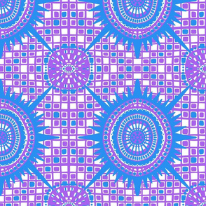 boho brights wonky medallions - blue and violet