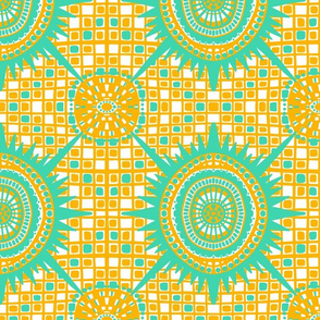 boho brights wonky medallions - light green and yellow