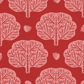 Stamped Trees and Acorns Red