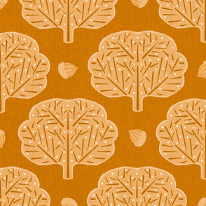 Stamped Trees and Acorns Yellow