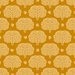Stamped Trees and Acorns Yellow Small