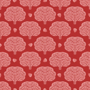 Stamped Trees and Acorns Red Small