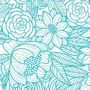 floral linework - large scale - teal