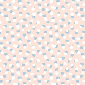 Spots and paint stains little dots and abstract confetti minimal brush dots blush blue white