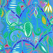 joyful botanical abundance wild colors 4 (blue background)