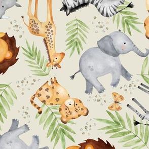 Jungle Animals - Kids Safari Animal Nursery Bedding, Lion Elephant Giraffe Zebra Rhino Cheetah