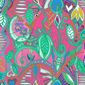 joyful botanical abundance wild colors 2 (pink background)