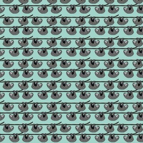 SMALL sloth fabric // mint grey black and white gender neutral kids