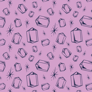 Navy crystals on pink orchid background