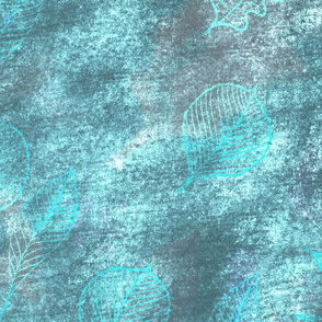 Leaves - Turquoise Faux textured pattern