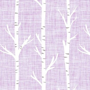 white lilac linen birch trees