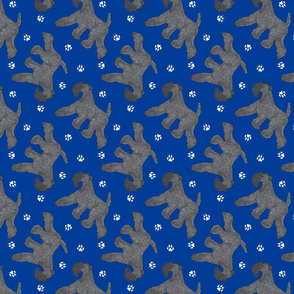 Trotting Kerry Blue Terrier and paw prints - blue
