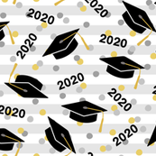 Tossed Graduation Caps with Black 2020, Gold & Silver Confetti (Large Size)