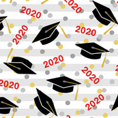 Tossed Graduation Caps with Red 2020, Gold & Silver Confetti (Large Size)
