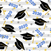Tossed Graduation Caps with Blue 2020, Gold & Silver Confetti (Large Size)