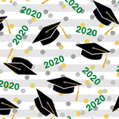 Tossed Graduation Caps with Green 2020, Gold & Silver Confetti (Large Size)