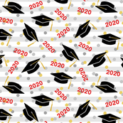 Tossed Graduation Caps with Red 2020, Gold & Silver Confetti (Small Size)