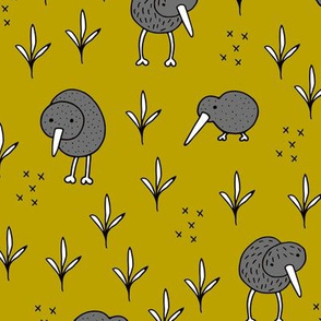 Cool kiwi birds quirky animals from New Zealand ochre yellow LARGE
