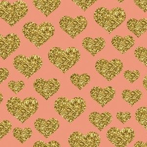 Hearts - Gold Glitter Dusty Pink