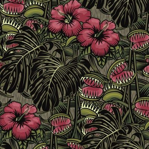 ★ TROPICAL NIGHT ★ Carnivorous Plant, Hibiscus & Monstera / Burgundy + Olive Green, Small Scale / Collection: It's a Jungle Out There – Savage Hawaiian Prints