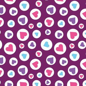 hearts on purple