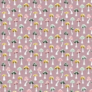 (extra small scale) Multi colored Mushrooms - mauve - C20BS