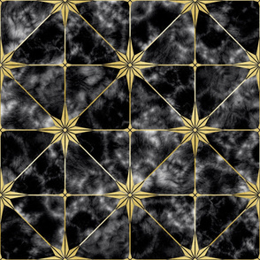 Black marble and gold star tile