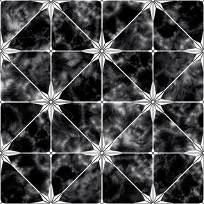Black marble and white star tile