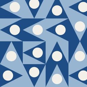 Triangles Discs Deco Geo, Classic Blue