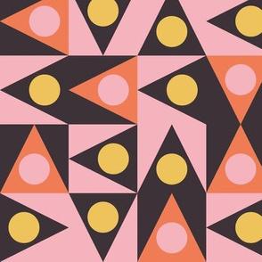 Triangles Discs Deco Geo, Samba Brazilia, pink, yellow and orange