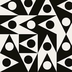 Triangles Discs Deco Geo, black and off white