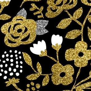 Gold Glitter Floral