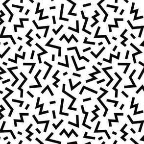 Super trendy geometric shapes squares stripes strokes and zigzag abstract memphis retro black and white SMALL