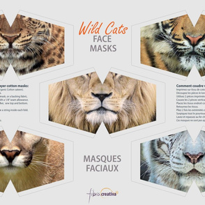 Wild Cats Cut & Sew Face Masks - lions, tiger, cougar, panther