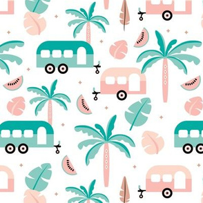 Happy summer holiday tropical travels camper van trip island vibes surf lovers mint peach white