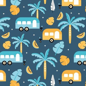 Happy summer holiday tropical travels camper van trip island vibes surf lovers navy blue ochre yellow kids