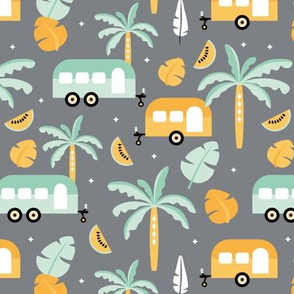 Happy summer holiday tropical travels camper van trip island vibes surf lovers gray mint green ochre yellow kids