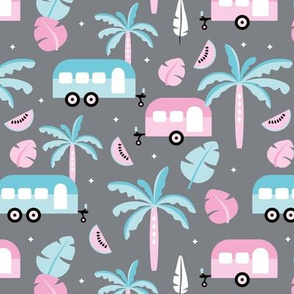 Happy summer holiday tropical travels camper van trip island vibes surf lovers gray Miami blue pink girls