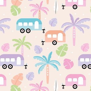 Happy summer holiday tropical travels camper van trip island vibes surf lovers beige miami pastel kids