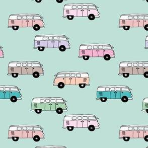 Happy camper van summer vacation travels boho vehicles hippies design girls mint