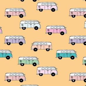 Happy camper van summer vacation travels boho vehicles hippies design girls yellow