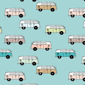 Happy camper van summer vacation travels boho vehicles hippies design boys turquoise blue