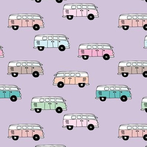Happy camper van summer vacation travels boho vehicles hippies design girls lilac purple