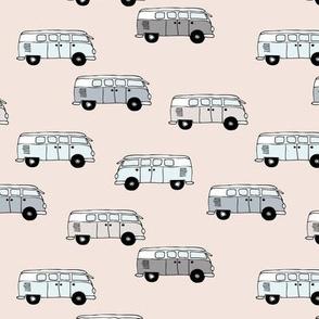 Happy camper van summer vacation travels boho vehicles hippies design kids neutral nursery sand beige gray