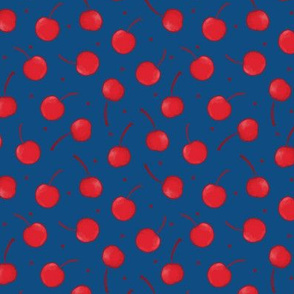 Cherry Ditsy in Red and Classic Blue