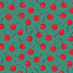 Cherry Ditsy in Red and Turquoise