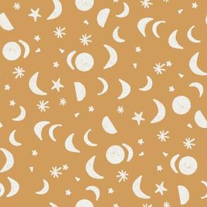 moon and stars nursery fabric - sfx1144 oak leaf