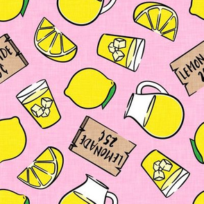 lemonade stand - lemons summer - pink - LAD20